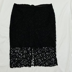Zara Lace Overlay Pencil Skirt